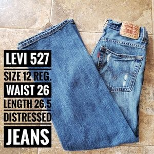 LEVIS 527 BOOTCUT DISTRESSED JEANS